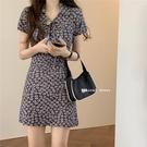 年小碎花連身裙春款氣質新款裙子高腰短袖輕熟風短裙女裝夏季 【快速出貨】
