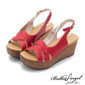 楔型涼鞋 夏日風情雅緻真皮楔型涼鞋(紅)*BalletAngel【18-761r】【現貨】