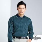 【Emilio Valentino】時尚配色橫條紋加厚保暖POLO衫 - 丈青