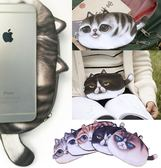 3D肥版大眼喵星人零錢包鑰匙包 貓咪手機包iPhone 交換禮物生日聖誕節【RB414】
