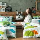 床包兩用被組 / 雙人【遇見朵朵-兩色可選】含兩件枕套,100%精梳棉,戀家小舖台灣製