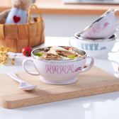 不銹鋼寶寶小食碗兒童吃飯碗小孩餐具嬰兒帶蓋輔食碗塑料防摔隔熱