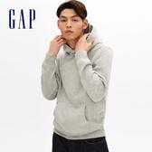 Gap男裝 柔軟復古連帽休閒上衣 488114-麻灰色