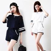 休閒運動套裝女新款日韓寬鬆時尚短袖短褲跑步兩件套女潮【元氣少女】