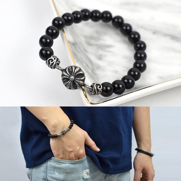 串珠手鍊 復古型男黑瑪瑙手環NAE20