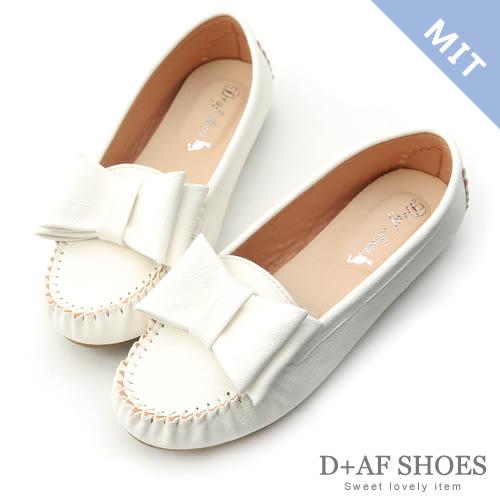 豆豆鞋 D+AF 俏皮可愛.MIT大蝴蝶結莫卡辛豆豆鞋*白