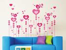 可移動 時尚組合壁貼 牆貼 壁貼紙 創意璧貼 可愛愛心鳥 情人節【YV2943】BO雜貨AY9116