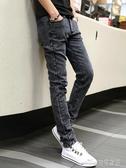 (快出)潮牌男士牛仔褲春秋款修身小腳直筒韓版潮流彈力休閒黑色長褲子男