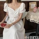 大碼洋裝 大碼胖mm遮肚子顯瘦連身裙2020新款法式泡泡袖長款收腰氣質仙女裙 博世