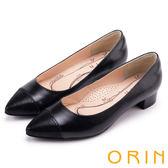 ORIN 優雅輕熟-異材質拼接尖頭羊皮粗跟鞋-黑色