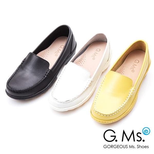 G.Ms.* MIT系列-牛皮素面縫線休閒鞋*黃色