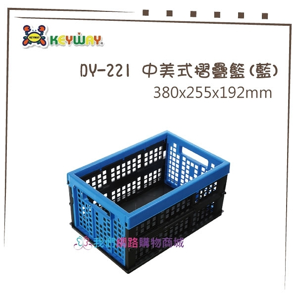 【我們網路購物商城】聯府 DY-221 中美式摺疊籃(藍) 摺疊置物籃 折疊籃 台灣製