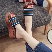 拖鞋一字拖厚底鬆糕跟拼色涼鞋2018夏季新款中跟室外穿女鞋子時尚 【PINK Q】