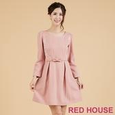 【RED HOUSE 蕾赫斯】蕾絲拼接毛料洋裝(共2色)