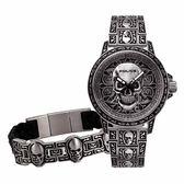 POLICE 搖滾硬漢骷髏造型腕錶-銀-15530SKS-SET1