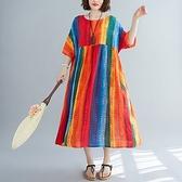 短袖連身裙-多彩條紋寬鬆圓領女洋裝73xz36【巴黎精品】