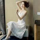 洋裝 網紗裙蕾絲連衣裙女夏新款中長裙顯瘦性感露背很仙的流行吊帶裙裙子 【八折搶購】