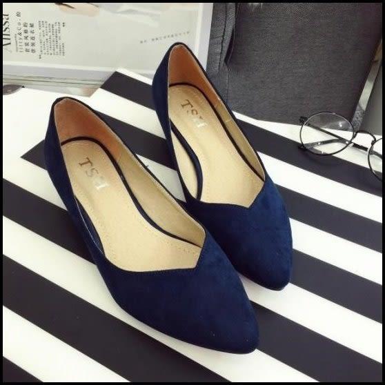 v口素面絨布質感麂皮尖頭低跟鞋中跟鞋高跟鞋女鞋工作鞋藍色(35-41)現貨
