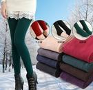88柑仔店--秋冬新款女裝加絨加厚保暖外穿修身顯瘦9分踩腳連襪學生打底褲女  (A0711)