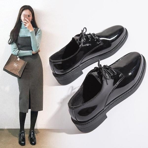 牛津鞋 夏黑色英倫小皮鞋女正裝單鞋子學生百搭平底上班職業工作面試西裝 歐歐