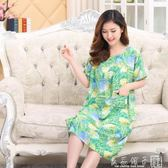 夏季大碼女裝睡裙中老年人棉綢純棉連衣裙中年短袖加大加肥媽媽裝      良品鋪子