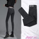 彈力褲2021年黑灰色彈力牛仔褲子女士春夏季新款高腰九分緊身小腳鉛筆褲 JUST M