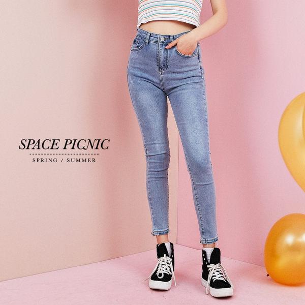 單寧 長褲 Space Picnic 現+預.窄管修身微破壞單寧長褲【C19031080】