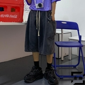 工裝牛仔短褲男寬鬆夏季薄口袋五分褲【左岸男裝】