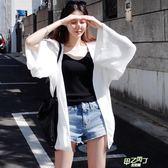 夏季正韓長袖防曬衣女開衫中長版大尺碼寬鬆沙灘雪紡披肩超薄款外套