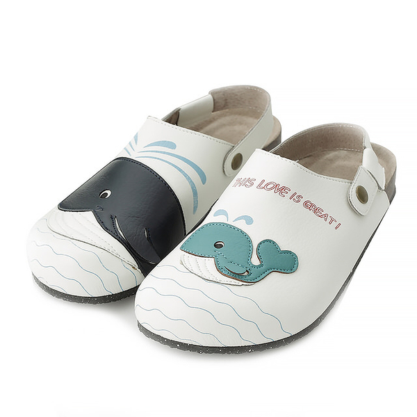 【Jingle】鯨魚家族前包後空軟木休閒鞋(經典白大人款)
