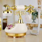 復古電話 田園仿古電話機家用臥室歐式電話復古電話機彩繪陶瓷白色客廳座機  潮先生