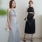 現貨-MIUSTAR 兩件式!削肩露背綁帶背心+緞光直筒裙(共2色,M-L)【NJ1816】