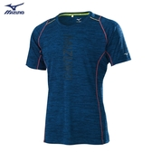 MIZUNO 男裝 短袖 T恤 慢跑 吸汗快乾 前胸炫彩 反光織帶 深藍【運動世界】J2TA050422