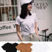 Queen Shop【01096239 】下擺扭結造型短版上衣 三色售*現+預*