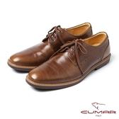 CUMAR男鞋 亮面綁帶休閒皮鞋-棕綠