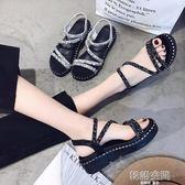 新款涼鞋女中跟夏季坡跟原宿風ulzzang鬆糕鞋女厚底高跟涼鞋 韓語空間