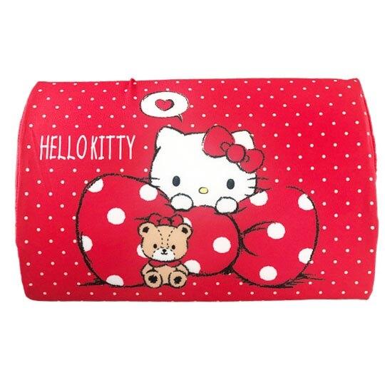 小禮堂 Hello Kitty 方形棉質枕頭 兒童枕頭 記憶枕 午睡枕 (紅白 點點) 4713909-23292