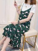 洋裝 碎花雪紡連身裙2019夏裝新款洋氣網紅兩件套裝很仙的