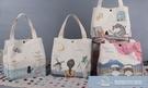 可愛帆布飯盒袋子學生日式手提大容量上班便當袋帶飯保溫袋便當包