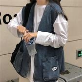 櫻田川島ins韓版季2010年新款慵懶風寬鬆口袋牛仔馬甲外套女潮 快速出貨