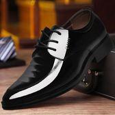 正裝皮鞋 商務男鞋子 青年男士男系帶英倫韓版尖頭低幫休閒鞋新郎婚鞋男皮鞋《印象精品》q585