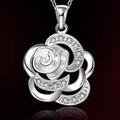 項鍊 925純銀 鑲鑽吊墜-優美玫瑰花生日聖誕節禮物女飾品73ch35【時尚巴黎】