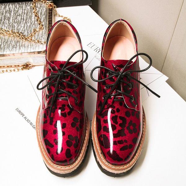 單鞋休閒松糕鞋2017春季真皮厚底系帶單鞋方頭內增高真皮拼色女鞋   -109249326