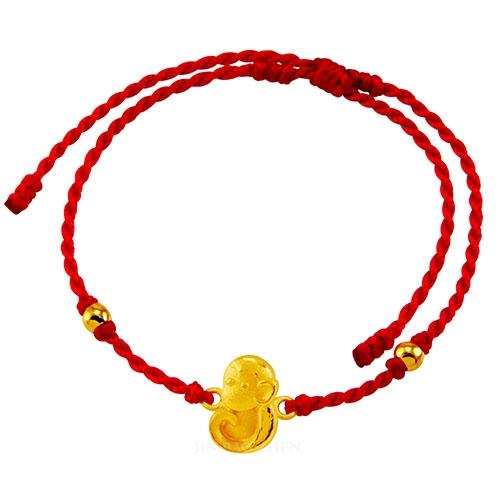甜蜜約定金飾-好運12生肖-猴-紅繩黃金手鍊