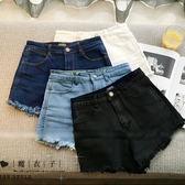 【QV0073】魔衣子-時尚條身高腰毛邊牛仔短褲