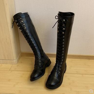 L-秋冬新款中筒靴女粗跟側拉鍊機車短靴學生百搭英倫風馬丁靴潮