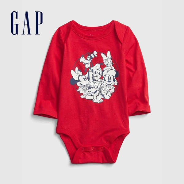 Gap嬰兒 Gap x Disney 迪士尼系列長袖包屁衣 650246-紅色