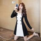 長袖洋裝S-XL方領紐扣拼接設計感裙子御姐連衣裙氣質輕熟風短裙女.T235.2717