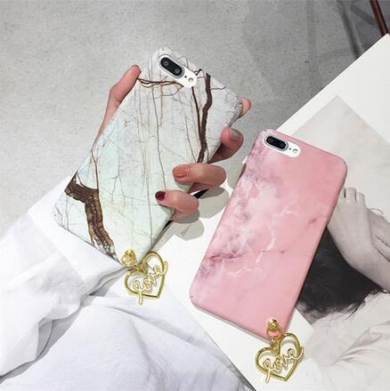 【SZ24】OPPO R11 plus手機殼 燙金大理石紋理 愛心吊墜 全包硬殼 R9/R9S plus手機殼
