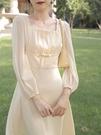 方領洋裝 夏季裙子女氣質修身名媛輕熟風方領連身裙溫柔超仙女森系文藝長裙 寶貝 免運